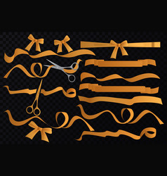 golden tapes ribbons set with scissors on vector image vector image
