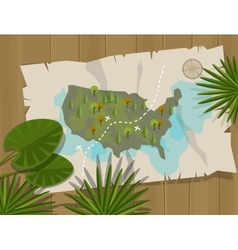 Jungle map america cartoon adventure vector