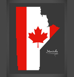 manitoba canada map with canadian national flag vector image vector image