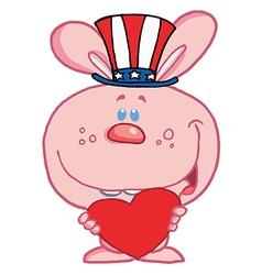 Patriotic rabbit cartoon vector image