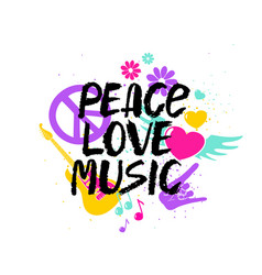 Peace love music lettering with symbols vector