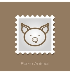 Pig stamp animal head vector