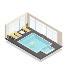 Recreation swimming pool isometric composition vector