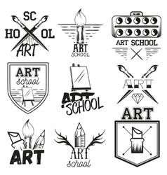 set art studio labels in vintage style vector image vector image
