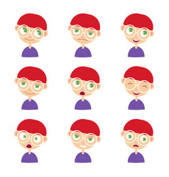 set of adorable boy facial emotions vector image