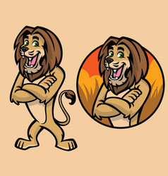 set of cartoon lion character vector image vector image