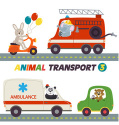 Set of isolated transports with animals part 3 vector