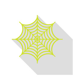 Spider on web pear icon with flat vector