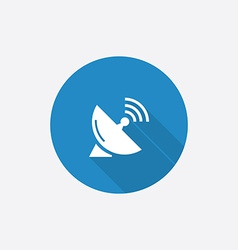 Sputnik antenna flat blue simple icon with long vector