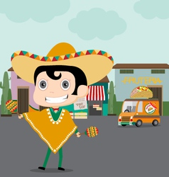 Taco man and his Truck vector image vector image