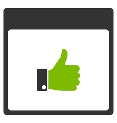 Thumb up hand calendar page flat icon vector