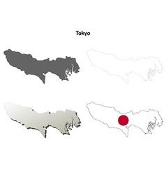 Tokyo blank outline map set vector