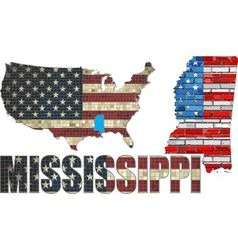 USA state of Mississippi on a brick wall vector image vector image