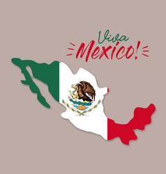 Viva mexico poster with mexico map and flag vector