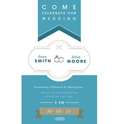 Wedding invitation blue ribbon theme vector