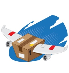 Winged package express delivery vector