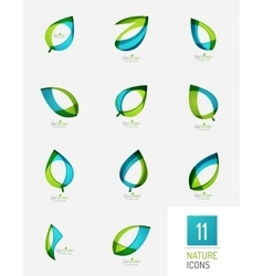 Green and blue color spring summer abstract leaf vector