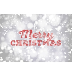 Red Merry Christmas typography on silver bokeh bac vector image