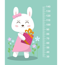 Cute bunny with a gift on a background of flowers vector