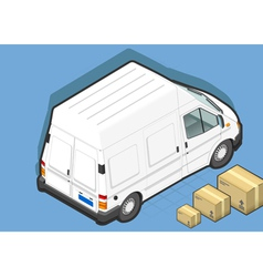 Isometric White Van in Rear view vector image