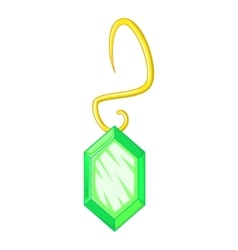 Green earring icon cartoon style vector