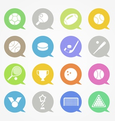 Sports web icons set in color speech clouds vector image