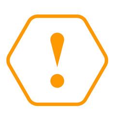 Orange hexagon exclamation mark icon warning sign vector