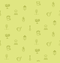Horticulture line icons seamless pattern vector