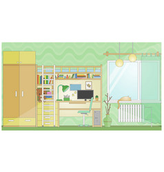 Room with workplace flat stylized cartoon vector