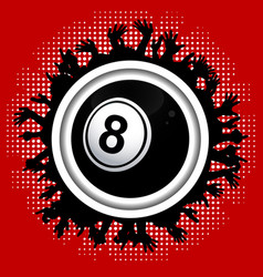 number eight bingo lottery ball on crowd border vector image