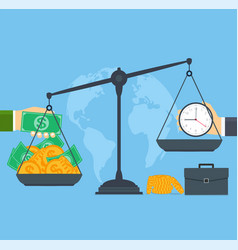 Time and money on scales concept business people vector