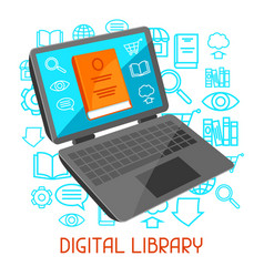 Digital library concept laptop with open book e vector