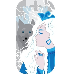 Princess and wolf vector