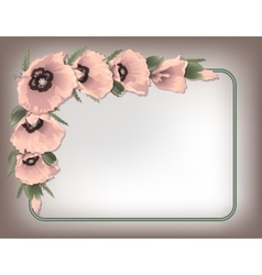 Pink poppies floral frame vector