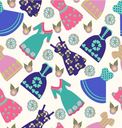 Pattern of summer lady dress collection vector