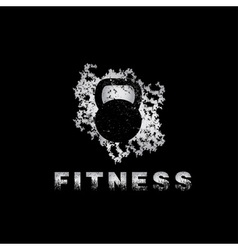 Grunge kettlebell on black background design vector