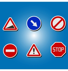 Color icons with traffic signs vector