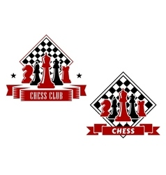 Chess emblems with chessboard and pieces vector
