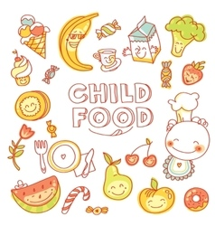 Child and baby food kids menu with colorful vector