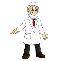 Cartoon doctor in white coat vector