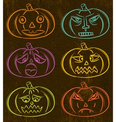 Halloween pumpkins horror persons emotion variatio vector