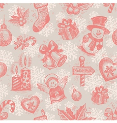 Seamless hand drawn christmas background vector