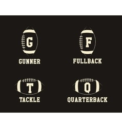 American football badge monograms with players vector