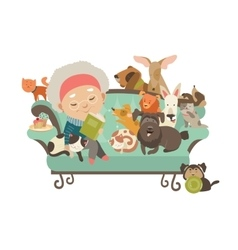 Old woman with her cats and dogs vector
