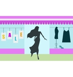 Shopping sale banner with woman silhouette vector
