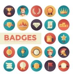 Badges ribbons awards icons set vector