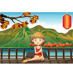 A woman at the wooden port vector image vector image