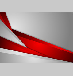 Abstract corporate red grey geometric background vector