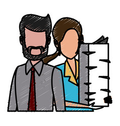 Business couple teamwork vector