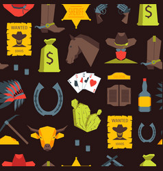 cartoon cowboy seamless pattern background vector image vector image